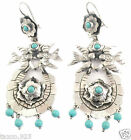 TAXCO MEXICAN STERLING SILVER FRIDA KAHLO DESIGN TURQUOISE BIRD EARRINGS MEXICO