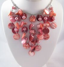 Gorgeous New Coral Colored Genuine Shell Bib Fringe Necklace #N2221