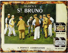Ogdens St Bruno Tobacco Metal Tin Plaque Wall Sign 40 30cm Victorian Style 9238