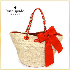"""$375 KATE SPADE Point Breeze Coal Straw Tote Bag ORANGE """"small"""" large BOW"""