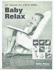 PUBLICITE ADVERTISING 056  1962  Baby-Relax puériculture siège à pot bébé