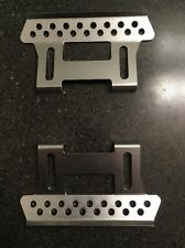 Axial SCX10 Aluminum Side Step Rock Rail Mounted Set Silver Metal Billet