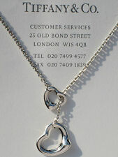 Tiffany & Co Elsa Peretti Sterling Silver Open Heart Lariat Necklace