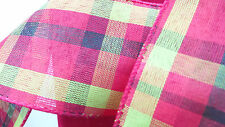 """Wire Edge Plaid Ribbon shades of Red Green Valentines Day 2.5"""" 5 yds semi sheer"""