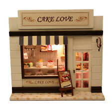 DIY Wood Dollhouse Miniature Cake Love Bakery Bread Store Shop Model Kit w/Light