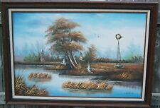 """VINTAGE OIL PAINTING HUNTING SCENE DUCK DOG WINDMILL SWAMP SIGNED 24""""x 30"""" NICE"""