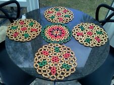 Vintage Retro five round bamboo placemats Kitsch
