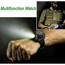TOP SALE Tactical Rechargeable Wrist Watch LED Flashlight Torch Compass Light
