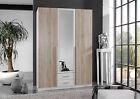 SlumberHaus German 'Skate' 3 Door & 2 Drawers White & oak & Mirror Door Wardrobe