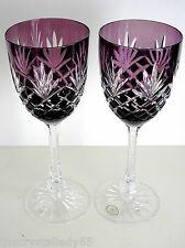 """AJKA ODESSA ED 2 AMETHYST PURPLE CASED CUT TO CLEAR 8 7/8"""" WATER GOBLET Set of 2"""