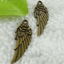 Free Ship 168 pieces bronze plated wing pendant 31x11mm #369