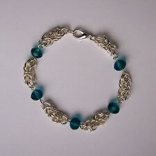 New Silver Plated Chain Maille Turquoise Crystal Glass Rondelle Bead Bracelet
