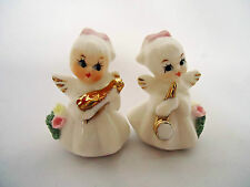 A Pair of Musical Angels Bone China Ornaments. Vintage 1950's Saxophone Ukulele