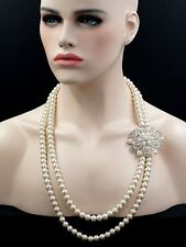 White Pearl Strand/String Necklace Silver Plated Clear Crystal Flower Brooch 016