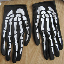 Unisex Halloween Cosplay Skull Skeleton Bone Goth Gloves Full Finger Warm Gloves