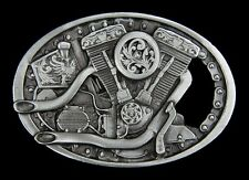 BEAUTFIUL HARLEY V-TWIN BELT BUCKLE WITH CUSTOM  PIPES NEW!