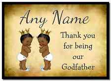 Vintage Baby Twin Negro Chicos Padrino gracias Personalizados Mantel Individual