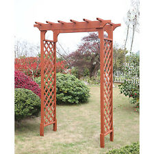 Wooden Garden Arbor Brown Arch Sturdy Entry Frame Yard Decorative Solid Door New