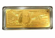 24K 99.9% Gold Plated $100 Bank Note w/Certificate/Paperweight - Holiday Gift