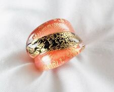 Genuine Murano Glass Ring Made in Italy 24k Gold Inlaid Glass Size 7 List $140