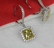 Halo Nickel Free Leverback 925 Silver Yellow Citrine Princess Dangle Earrings