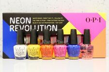 OPI NEON REVOLUTION Mini Collection Nail Gift 6pk Kit- White Base + 4 Color +Top