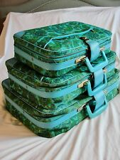 VINTAGE 60s JAPANESE*BLUE FLORAL& PAISLEY SUITCASE BAGS LUGGAGE*SET OF 3 S/M/L
