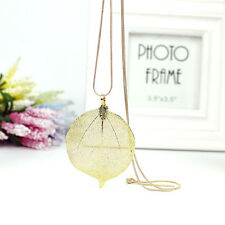 Women Simulated Golden Leaves Leaf Sweater Pendant Long Chain Necklace hot