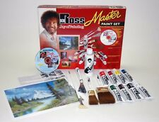 BOB ROSS Master Paint Set w /  2 Table Top easels brushes-oil colors-mediums-DVD