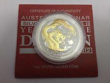 Perth Mint Australia $1 Lunar Series 2 Gilded Dragon 2012 1 oz .999 Silver Coin