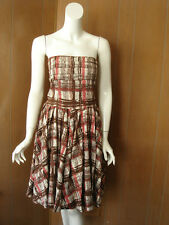 Anthropologie ELEVENSES Pink Brown Plaid Prints Strapless Dress 2