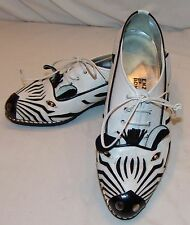 Enzo of Roma Zebra Style Shoes 38 Animal Womens Loafers Black white 7 7.5