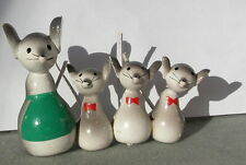 Vintage Chrismas hand-made wooden ornament - mice family carolers  c.1970