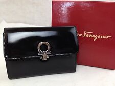 Auth Salvatore Ferragamo Gancini Clutch Bag Black Patent Leather 5I220530#