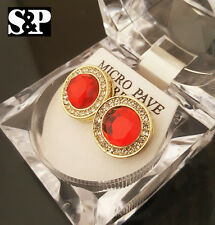 Hip Hop Iced Out Micro Pave Gold Tone Micro Pave Red Ruby Round Bling Earrings