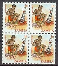 Zambia 1981 Sc# 240 Mask maker block 4 MNH Northern Rhodesia