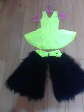 CHILDS DISCO DRESS, SIZE 00 WITH ATTACHED PANTS, STRETCH LYCRA FURRY BOOTS  B5