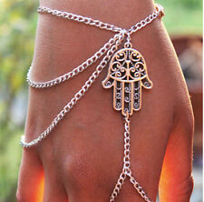 Men Women Hamsa Fatima Multilayer Bracelet Finger Ring Slave Chain Hand Harness