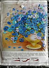 """Blue Flowers Vase 3D Ribbon Embroidery Kit 19 1/2"""" by 13 1/2""""."""