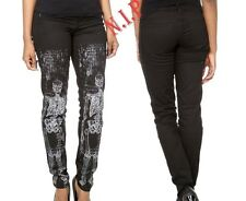 LIP SERVICE Black Skeleton Print Skinny Jeans Pants Size 9 Emo Goth HOT TOPIC