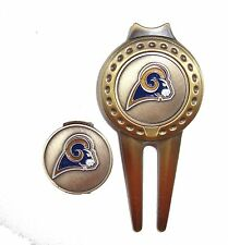 Los Angeles (LA) Rams Hat Clip & Divot Tool with Golf Ball Marker Combo