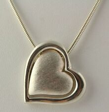 """Double Heart Pendant Necklace - Sterling Silver 925 Snake Chain 925 Italy 18"""""""