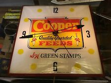 ORIGINAL AnTiQuE COOPERS FEEDS S&H STAMPS Advertising PAM CLOCK Lighted Sign OLD