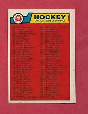 1983-84 OPC # 256 UNMARKED  CHECKLIST NRMT CARD
