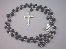 Rosary Necklace Wood Bead Silver Tone Chain Center Detail Crucifix BLACK Classic