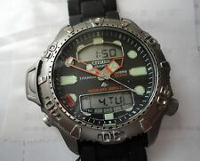 Citizen Aqualand Duplex Titanium Diver Watch Model 200M GN-4-S NEW BATTERY
