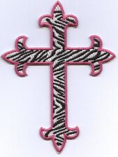 Iron On Applique Embroidered Patch Fleur de lis Cross Zebra with Pink Outline