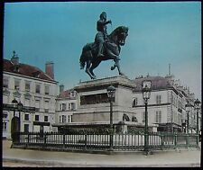 Glass Magic Lantern Slide ORLEANS EQUESTRIAN STATUE C1900 PHOTO FRANCE