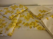 Vintage Set of yellow floral sheets for double bed or as cutters 3 flat 4 cases