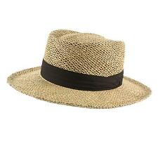 Men's Summer UPF 50 100% Straw Boater Derby Fedora Wide Brim Sun Hat 59cm LXL